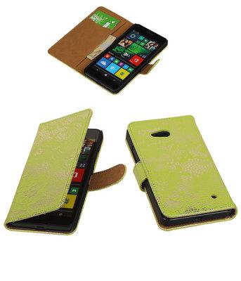 Hoesje voor Microsoft Lumia 640 Lace Booktype Wallet Groen