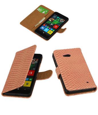 Slangen Roze Booktype - Hoesje voor Microsoft Lumia 640