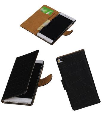Hoesje voor Huawei P8 Krokodil Zwart Booktype
