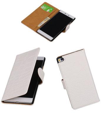 Hoesje voor Huawei P8 Krokodil Wit Booktype