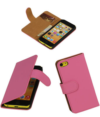 Roze Hoesje voor Apple iPhone 5C Book Wallet Case