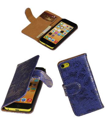 Apple iPhone 5c Hoesje - Blauw Lace Kant Design