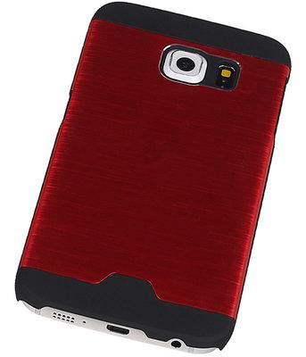 Lichte Aluminium Hardcase Hoesje voor Samsung Galaxy S6 Edge G925 Rood