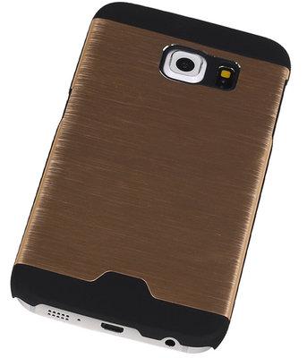 Lichte Aluminium Hardcase Hoesje voor Samsung Galaxy S6 Edge G925 Goud