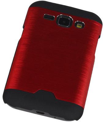 Lichte Aluminium Hardcase Samsung Galaxy J1 2015 Rood