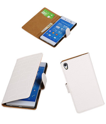 Hoesje voor Sony Xperia Z4/Z3 Plus Croco Booktype Wallet Wit