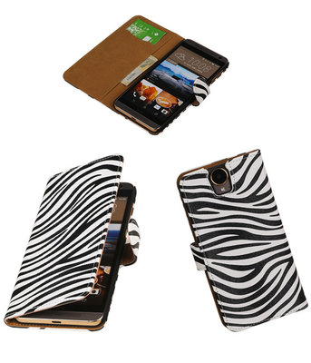 Hoesje voor HTC One E9 Plus Booktype Zebra