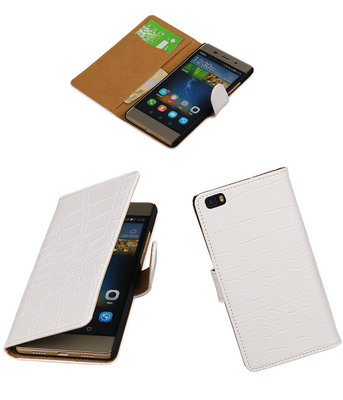 Hoesje voor Huawei P8 Lite Croco Booktype Wallet Wit