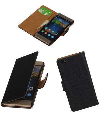 Huawei P8 Lite Croco Booktype Wallet Hoesje Zwart