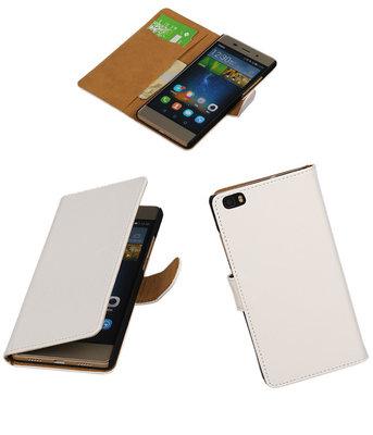 Huawei P8 Lite Effen Booktype Wallet Hoesje Wit