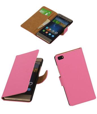 Huawei P8 Lite Effen Booktype Wallet Hoesje Roze