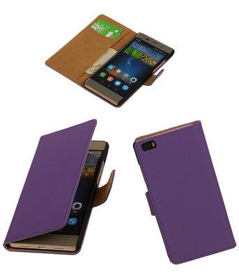 Huawei P8 Lite Effen Booktype Wallet Hoesje Paars