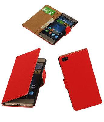 Huawei P8 Lite Effen Booktype Wallet Hoesje Rood