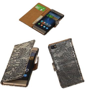 Hoesje voor Huawei P8 Lite Lace/Kant Booktype Wallet Zwart