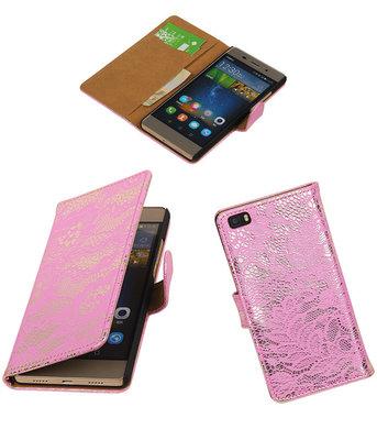 Huawei P8 Lite Lace/Kant Booktype Wallet Hoesje Roze