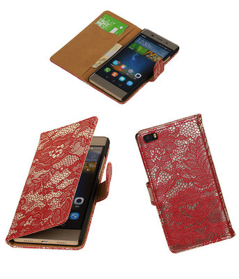 Hoesje voor Huawei P8 Lite Lace/Kant Booktype Wallet Rood