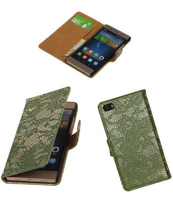 Huawei P8 Lite Lace/Kant Booktype Wallet Hoesje Donker Groen