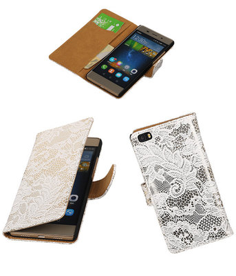 Hoesje voor Huawei P8 Lite Lace/Kant Booktype Wallet Wit