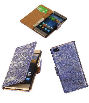 Hoesje voor Huawei P8 Lite Lace/Kant Booktype Wallet Blauw