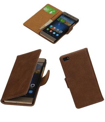 Huawei P8 Lite Bark/Hout Booktype Wallet Hoesje Bruin