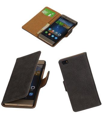 Huawei P8 Lite Bark/Hout Booktype Wallet Hoesje Grijs