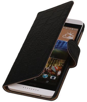 HTC Desire 320 Croco Booktype Wallet Hoesje Zwart