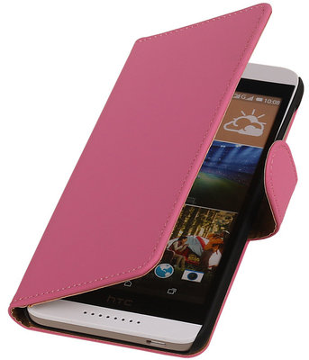HTC Desire 320 Effen Booktype Wallet Hoesje Roze