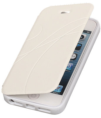 Bestcases Wit TPU Booktype Motief Hoesje Apple iPhone 5 5s