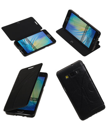 Bestcases Zwart TPU Booktype Motief Hoesje voor Samsung Galaxy A5 2015