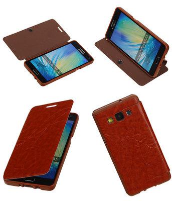 Bestcases Bruin TPU Booktype Motief Hoesje voor Samsung Galaxy A5 2015