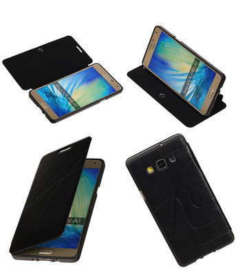 Bestcases Zwart TPU Booktype Motief Hoesje voor Samsung Galaxy A7 2015
