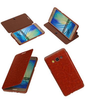Bestcases Bruin TPU Booktype Motief Hoesje voor Samsung Galaxy A7 2015