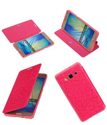 Bestcases Roze TPU Booktype Motief Hoesje voor Samsung Galaxy A7 2015