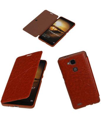 Bestcases Bruin TPU Booktype Motief Hoesje voor Huawei Ascend Mate 7