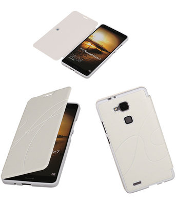 Bestcases Wit TPU Booktype Motief Hoesje voor Huawei Ascend Mate 7