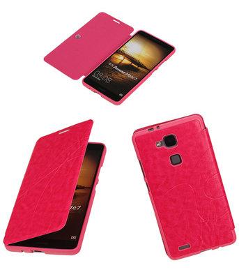 Bestcases Roze TPU Booktype Motief Hoesje voor Huawei Ascend Mate 7