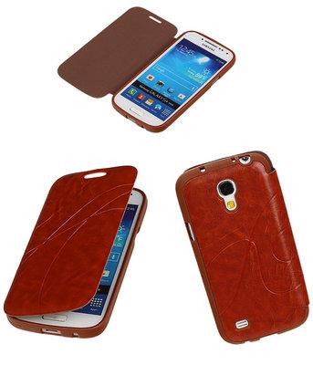 Bestcases Bruin TPU Booktype Motief Hoesje Samsung Galaxy S4 mini