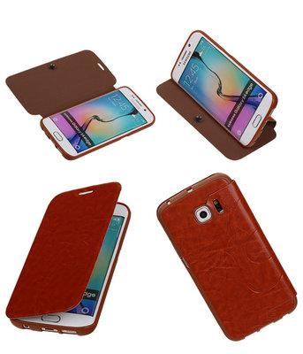 Bestcases Bruin TPU Booktype Motief Hoesje voor Samsung Galaxy S6 Edge