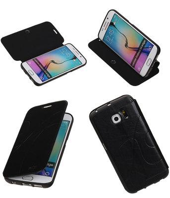 Bestcases Zwart TPU Booktype Motief Hoesje voor Samsung Galaxy S6 Edge