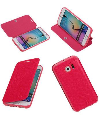 Bestcases Roze TPU Booktype Motief Hoesje voor Samsung Galaxy S6 Edge