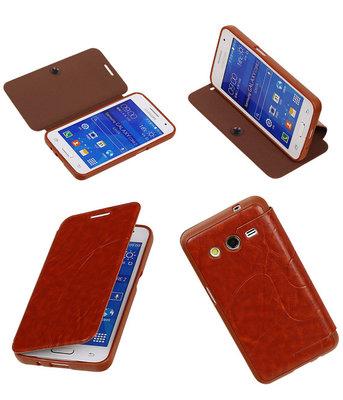 Bestcases Bruin TPU Booktype Motief Hoesje voor Samsung Galaxy Core 2