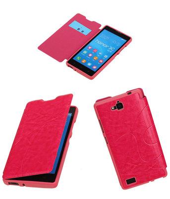 Bestcases Roze TPU Booktype Motief Hoesje Huawei Honor 3C