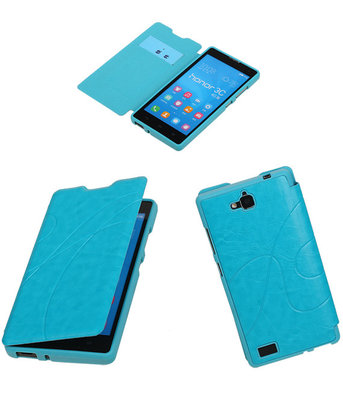 Bestcases Turquoise TPU Booktype Motief Hoesje Huawei Honor 3C