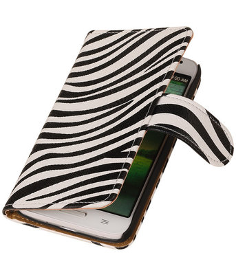 Hoesje voor HTC One M7 Zebra Booktype Wallet