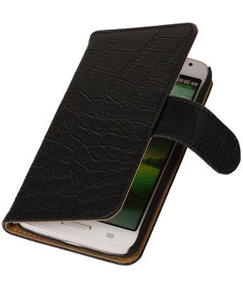 HTC One S Croco Booktype Wallet Hoesje Zwart