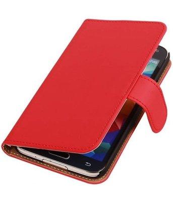 Hoesje voor Samsung Galaxy Alpha Effen Booktype Wallet Rood
