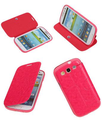 Bestcases Roze TPU Booktype Motief Hoesje voor Samsung Galaxy S3