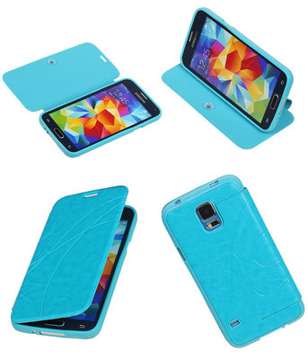 Bestcases Turquoise TPU Booktype Motief Hoesje Samsung Galaxy S5