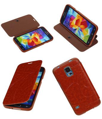 Bestcases Bruin TPU Booktype Motief Hoesje voor Samsung Galaxy S5
