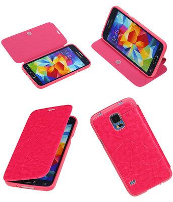 Bestcases Roze TPU Booktype Motief Hoesje Samsung Galaxy S5